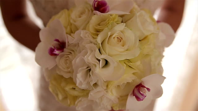 bridal wedding bouquet,close up - bouquet stock videos and b-roll footage