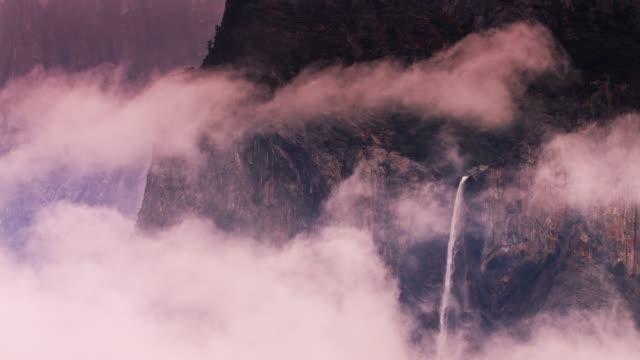 bridalveil falls, yosemite in winter - yosemite national park stock videos and b-roll footage
