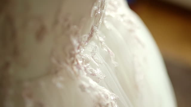 CLOSE UP SELECTIVE FOCUS ZO Bride adjusting wedding dress