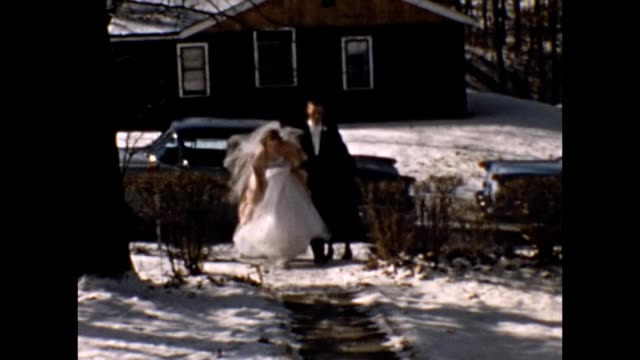 1957 bride and groom arriving home after wedding - just married stock videos and b-roll footage