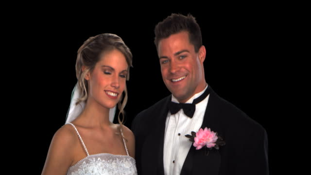 bride and groom close-up - this clip has an embedded alpha-channel - pre matted stock videos & royalty-free footage