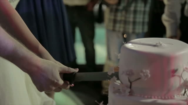 Bride and Groom cutting the Wedding Cake with knife