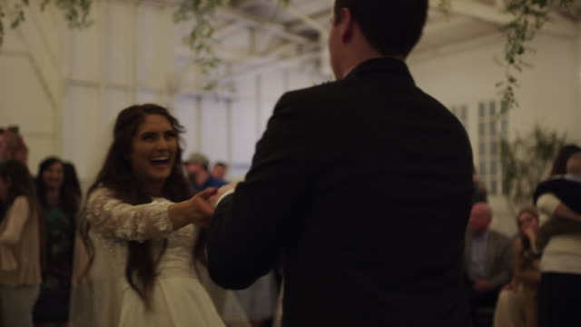 bride and groom dancing at wedding reception / provo, utah, united states - provo stock videos & royalty-free footage