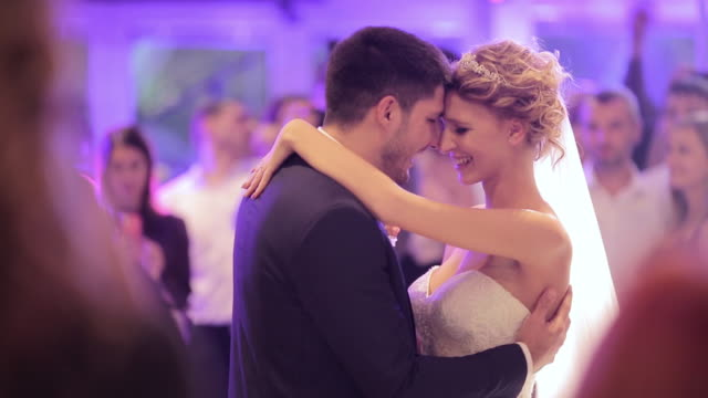 bride and groom dancing together their first dance - dancing stock videos and b-roll footage