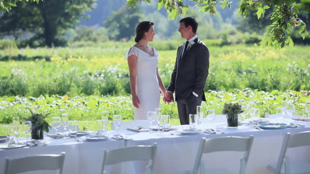 MS Bride and groom holding hands standing behind banquet table in field/Washington, USA