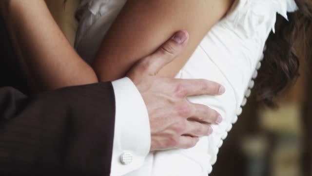 CU TU Bride and groom kissing / Draper, Utah, USA