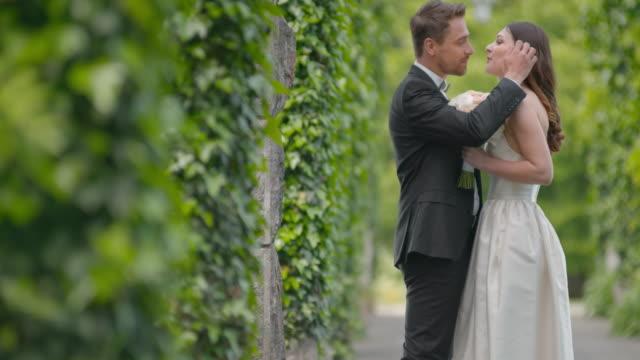 SLO MO Bride and groom kissing