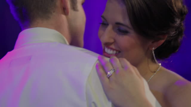 cu bride and groom slow dancing - ehering stock-videos und b-roll-filmmaterial