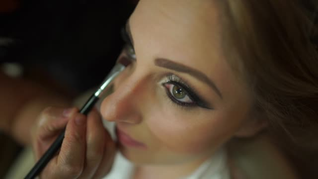 bride being made up for her wedding - eyelash stock videos & royalty-free footage