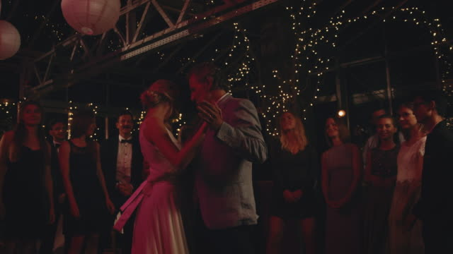 bride dancing with father on wedding night - daughter stock videos & royalty-free footage