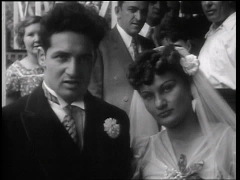 b/w 1938 portrait bride + groom sitting in roller coaster / palisades park, nj / newsreel - palisades park stock videos & royalty-free footage
