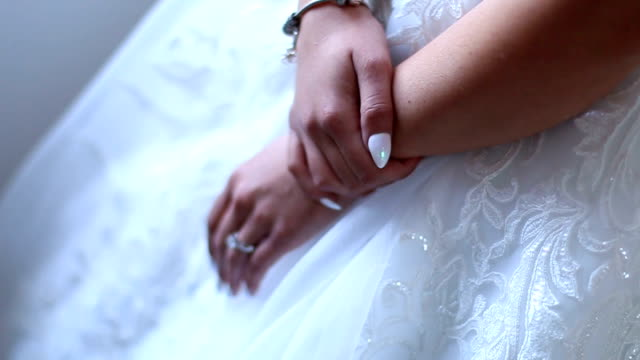 Bride hands with ring. Close-up