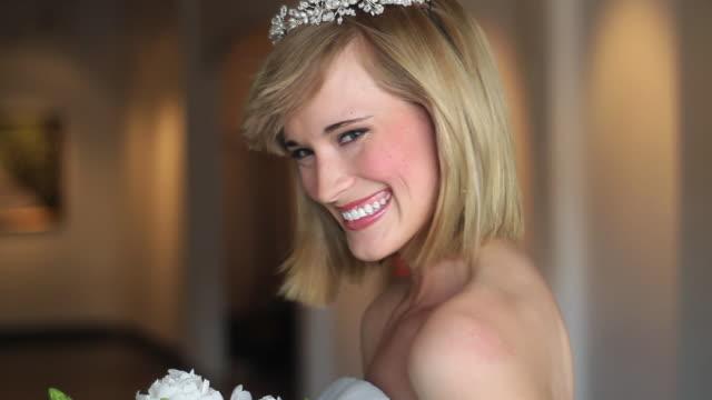 CU TU Bride holding bouquet and smiling / Richmond, Virginia, USA