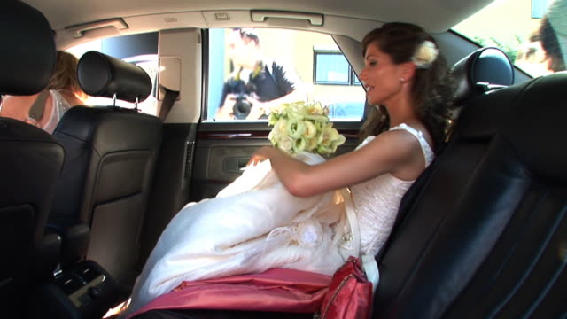 hd: bride in the car - bride stock videos and b-roll footage