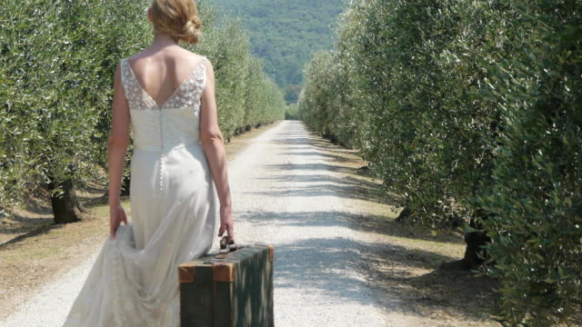 Bride on on rural road with suitcase, rear view