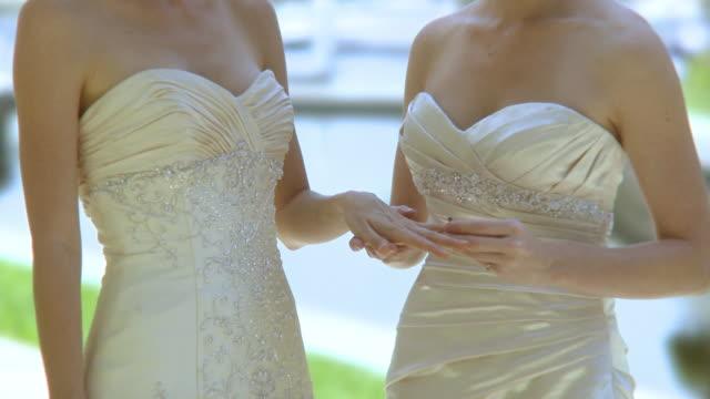 CU Bride placing ring on finger of her bride, mid section, Jacksonville, Florida, USA