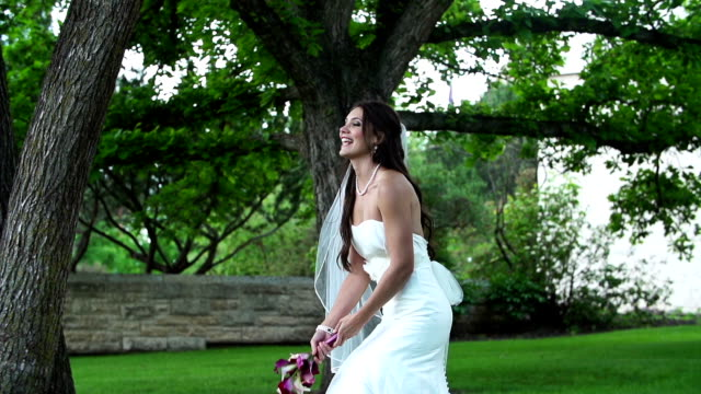 bride throws the bouquet - bride stock videos and b-roll footage
