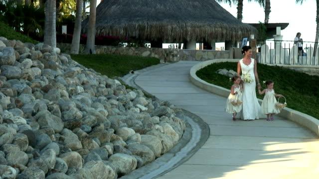 ws, bride walking down beach path with two girls (4-5), cabo san lucas, mexico - solfjäderspalm bildbanksvideor och videomaterial från bakom kulisserna