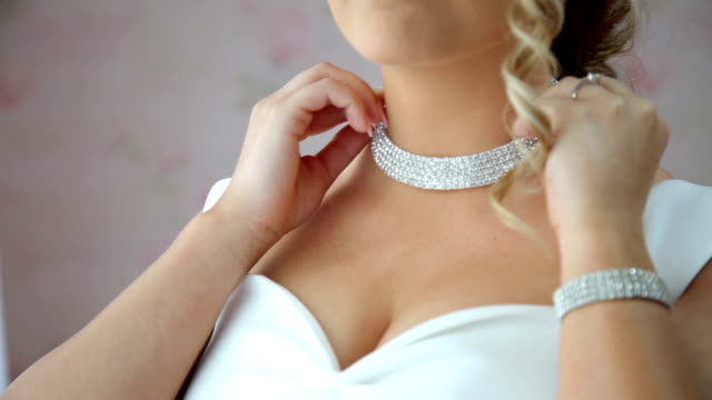 bride wedding necklace - chain stock videos & royalty-free footage