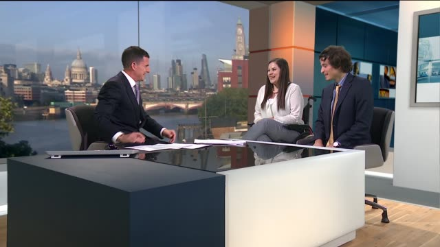 Bride with crippling joint disease raises money for leg braces ENGLAND London GIR INT Thea Downey and Jakob Seagar LIVE STUDIO interview SOT