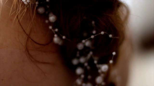 Bride with elegant tiara in wedding hairstyle