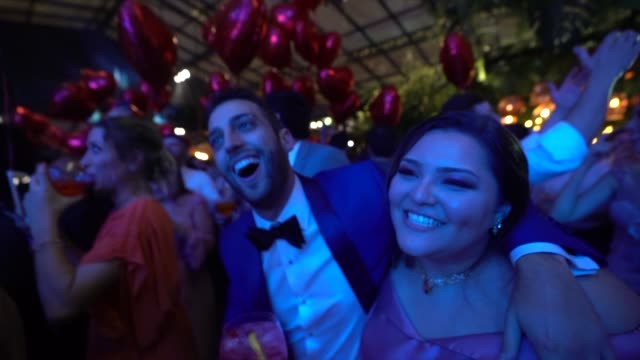 bridegroom dancing with wedding guests - nightlife stock videos & royalty-free footage