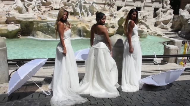 brides wearing their wedding dress hold a flashmob protest against the postponement of their marriages due to the strict protocol of all religious... - religious dress stock videos & royalty-free footage