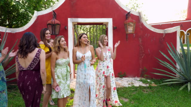 vídeos de stock, filmes e b-roll de ms bridesmaids and flower girls gathered together at outdoor wedding reception - bridesmaid