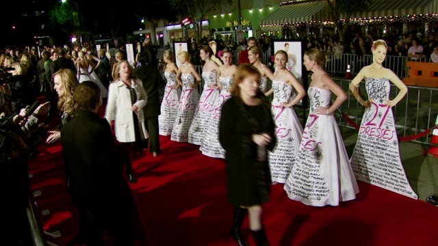 bridesmaids at the '27 dresses' premiere at the mann village theatre in westwood california on january 7 2008 - regency village theater stock videos & royalty-free footage