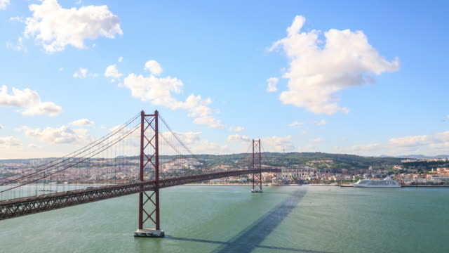 bridge 25 de abril bridge in lisbon - lisbon stock videos and b-roll footage