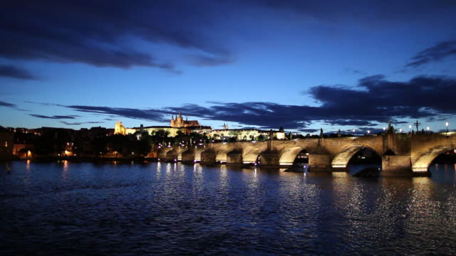WS Bridge and Hradcany Castle illuminated at dusk/ Prague, Czech Republic