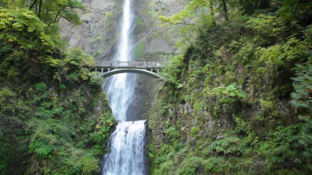 vídeos y material grabado en eventos de stock de ws bridge at multnomah falls / oregon, usa - cascadas de multnomah