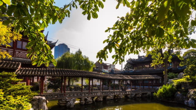 tl bridge at the pavilion of listening to billows in yu garden - pavilion video stock e b–roll