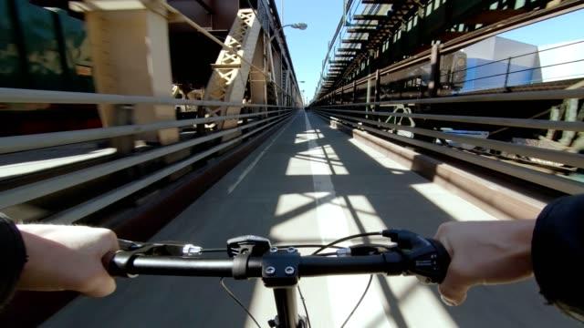 Bridge bicycle pov Queens Manhattan biking winter traffic