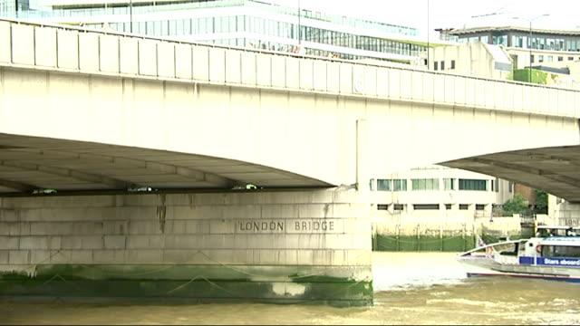 vidéos et rushes de 'bridge' exhibition at the museum of london docklands; wide shot blackfriars bridge and london cityscape tourist taking photograph on bridge london... - museum