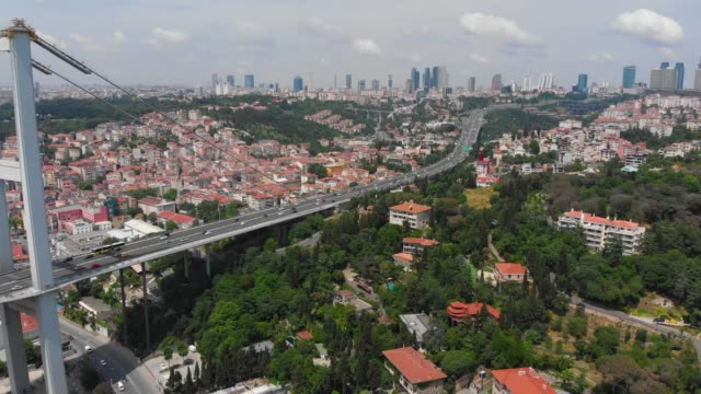 bridge in bosphorus and istanbul cityscape - bosphorus stock videos & royalty-free footage