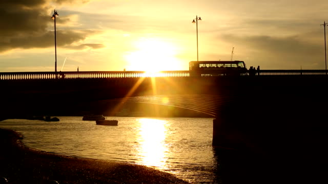 bridge in london with sun - thames river stock videos and b-roll footage