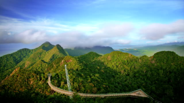 bridge in mountains - langkawi stock videos and b-roll footage