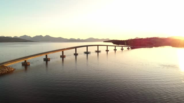 bridge in norway connecting the fjords - aerial footage - atlantic ocean stock videos & royalty-free footage
