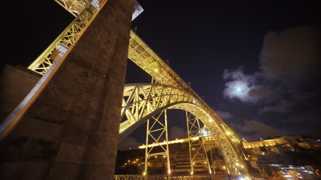Bridge in Porto, Portugal at night