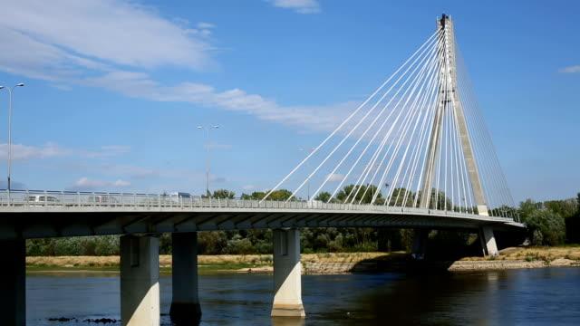 bridge in warsaw, panning - warschau stock videos and b-roll footage