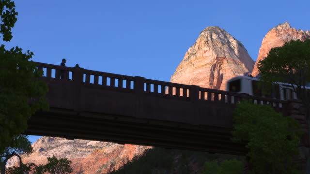 Bridge in Zion with people