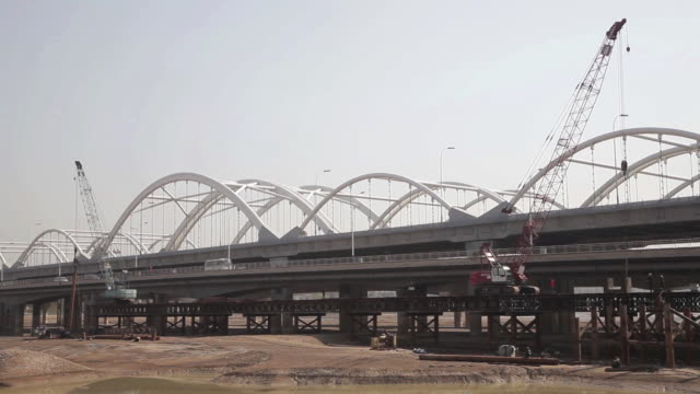ms bridge is in course of construction / xi'an, shaanxi, china - motorway stock videos & royalty-free footage