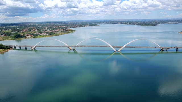 bridge jk aerial image, brasilia city, brasil, south lake, angle three - brasilia stock videos and b-roll footage