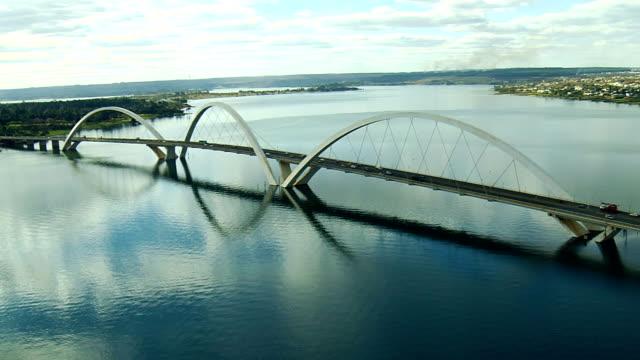 bridge jk , brasilia city, brasil, south lake, angle two - juscelino kubitschek bridge stock videos & royalty-free footage