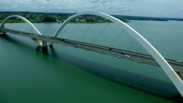 bridge jk , brasilia city, brasil, south lake, bridge juscelino kubitschek - brasilia stock videos and b-roll footage
