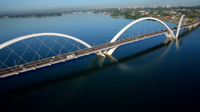 bridge jk , brasilia city, brasil, south lake, bridge juscelino kubitschek - juscelino kubitschek bridge stock videos & royalty-free footage