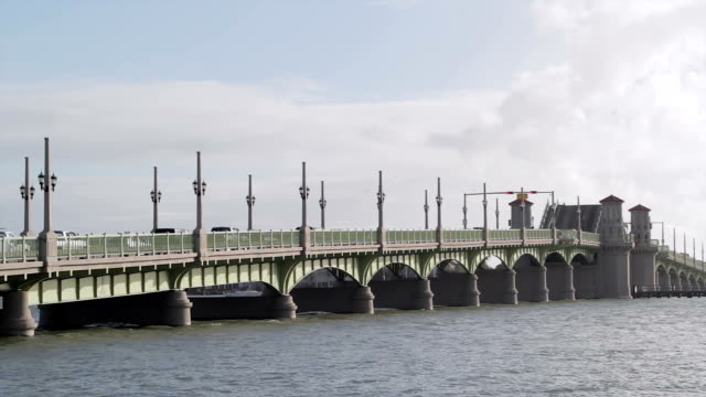 bridge of lions in st. augustine, florida, usa timelapse - bascule bridge stock videos and b-roll footage