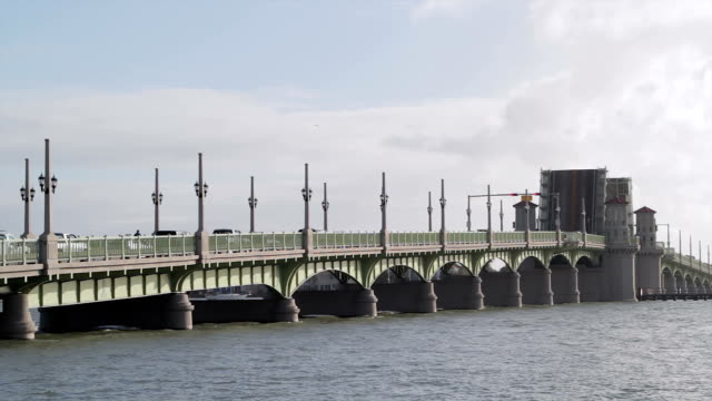 bridge of lions in st. augustine, florida, usa - bascule bridge stock videos & royalty-free footage