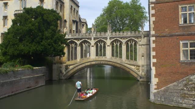 bridge of sighs along the cam river - cambridge university stock videos & royalty-free footage
